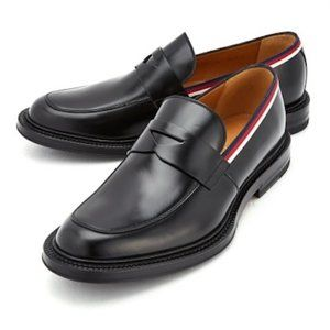 Gucci Black leather loafer red/white stripe 40.5